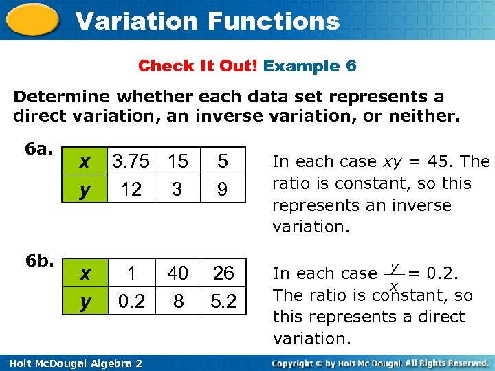 Variation Functions Check It Out! Example 6 Determine whether each data set represents a