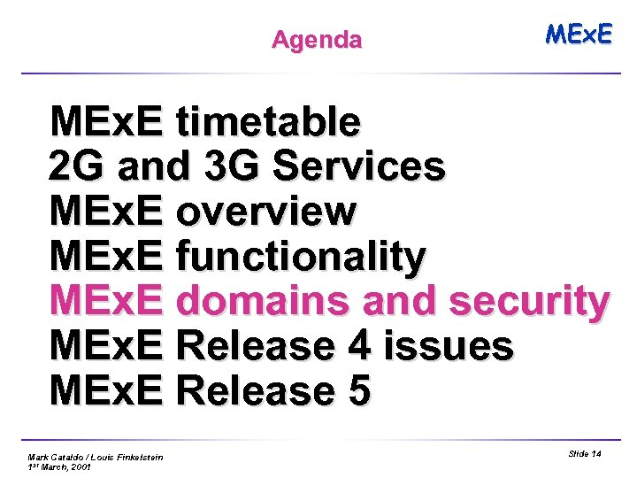 Agenda MEx. E timetable 2 G and 3 G Services MEx. E overview MEx.
