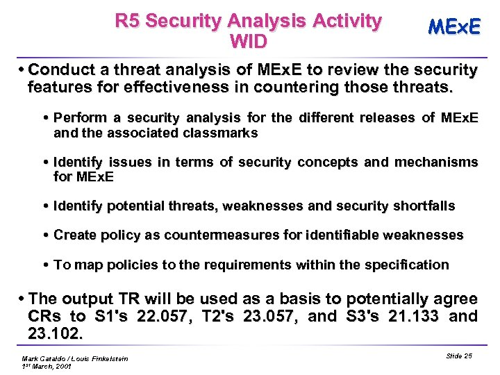 R 5 Security Analysis Activity WID MEx. E Conduct a threat analysis of MEx.