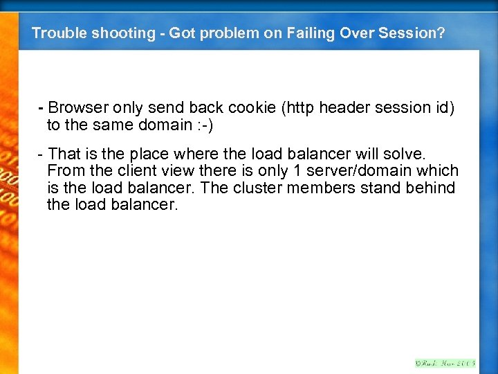 Trouble shooting - Got problem on Failing Over Session? - Browser only send back