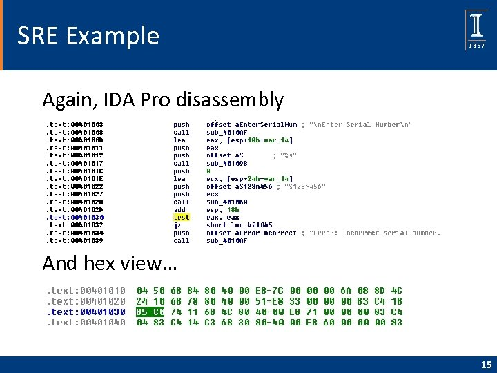 SRE Example Again, IDA Pro disassembly And hex view… 15