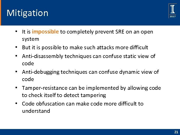 Mitigation • It is impossible to completely prevent SRE on an open system •