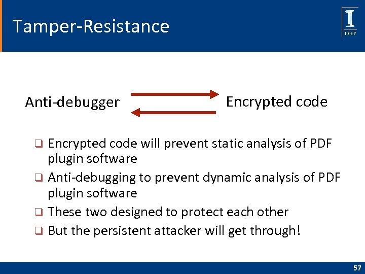 Tamper-Resistance Anti-debugger Encrypted code will prevent static analysis of PDF plugin software q Anti-debugging