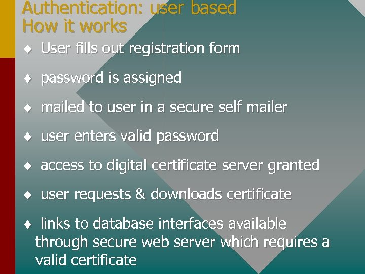 Authentication: user based How it works ¨ User fills out registration form ¨ password