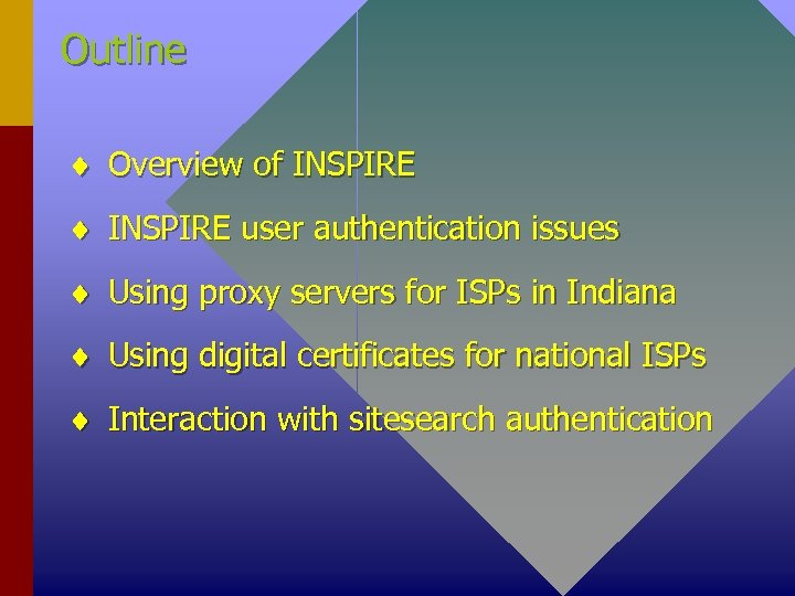 Outline ¨ Overview of INSPIRE ¨ INSPIRE user authentication issues ¨ Using proxy servers