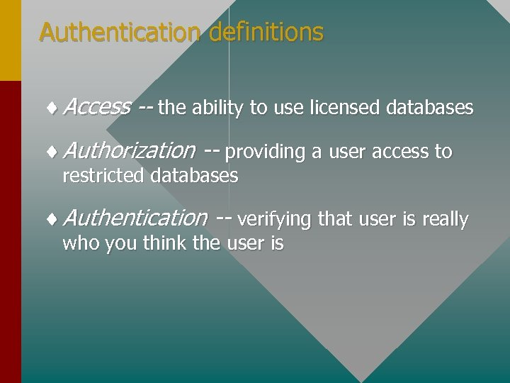 Authentication definitions ¨ Access -- the ability to use licensed databases ¨ Authorization --