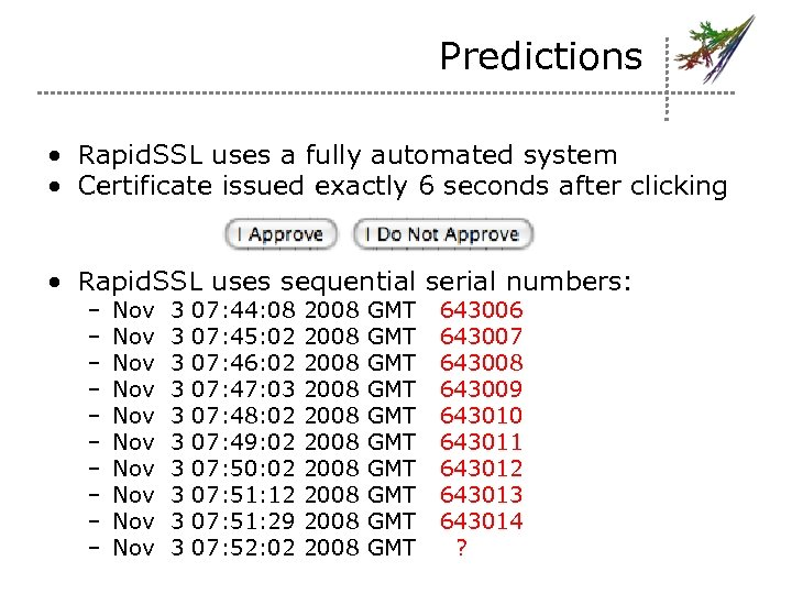 Predictions • Rapid. SSL uses a fully automated system • Certificate issued exactly 6