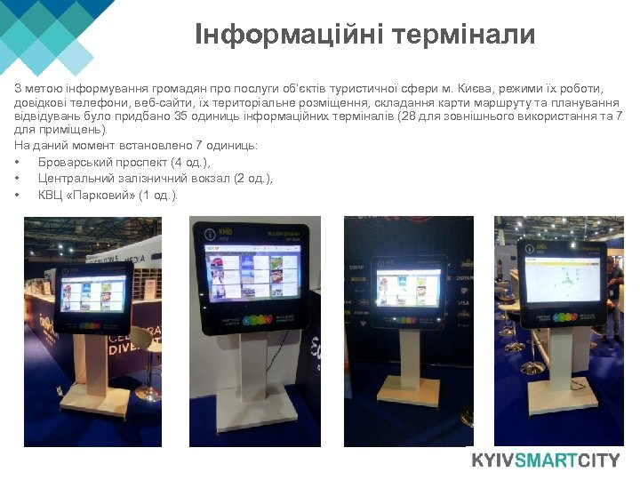 Інформаційні термінали З метою інформування громадян про послуги об'єктів туристичної сфери м. Києва, режими