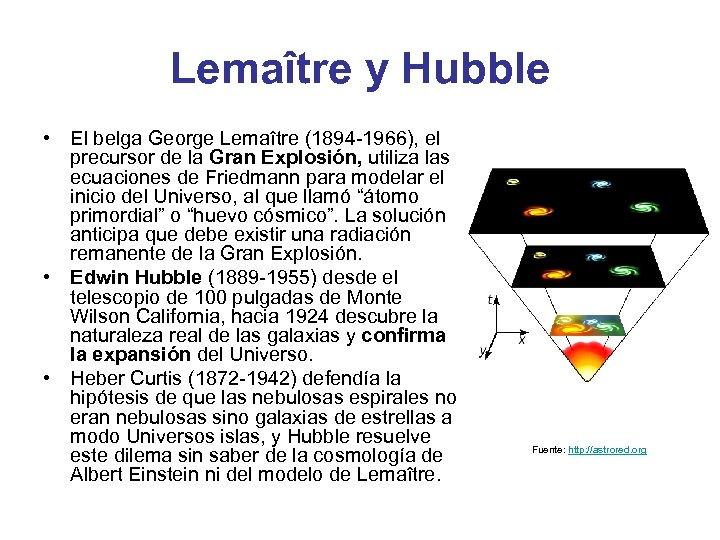 Lemaître y Hubble • El belga George Lemaître (1894 -1966), el precursor de la