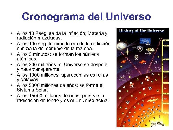 Cronograma del Universo • A los 1012 seg: se da la Inflación; Materia y