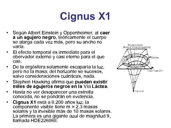 Cignus X 1 • Según Albert Einstein y Oppenheimer, al caer a un agujero