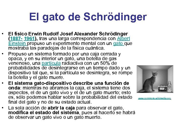 El gato de Schrödinger • El físico Erwin Rudolf Josef Alexander Schrödinger (1887 -