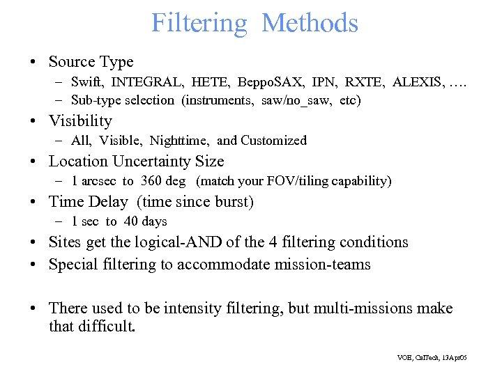 Filtering Methods • Source Type – Swift, INTEGRAL, HETE, Beppo. SAX, IPN, RXTE, ALEXIS,