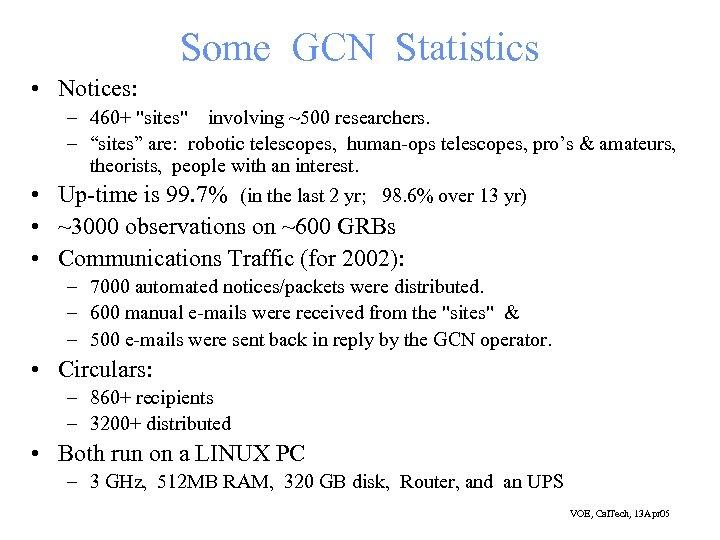 Some GCN Statistics • Notices: – 460+