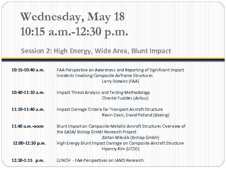 Wednesday, May 18 10: 15 a. m. -12: 30 p. m. Session 2: High