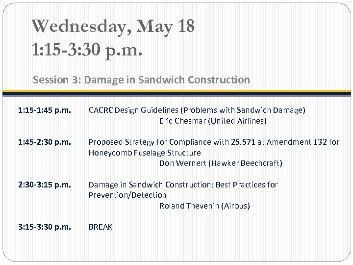 Wednesday, May 18 1: 15 -3: 30 p. m. Session 3: Damage in Sandwich