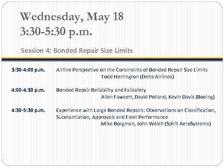 Wednesday, May 18 3: 30 -5: 30 p. m. Session 4: Bonded Repair Size