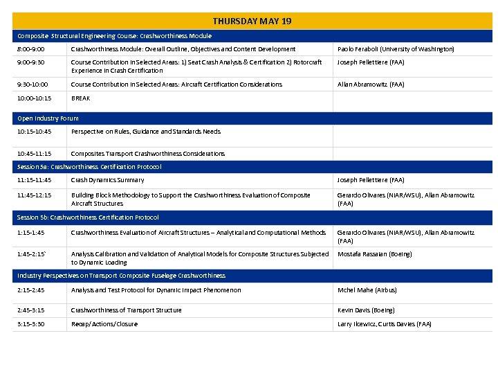 THURSDAY MAY 19 Composite Structural Engineering Course: Crashworthiness Module 8: 00 -9: 00 Crashworthiness