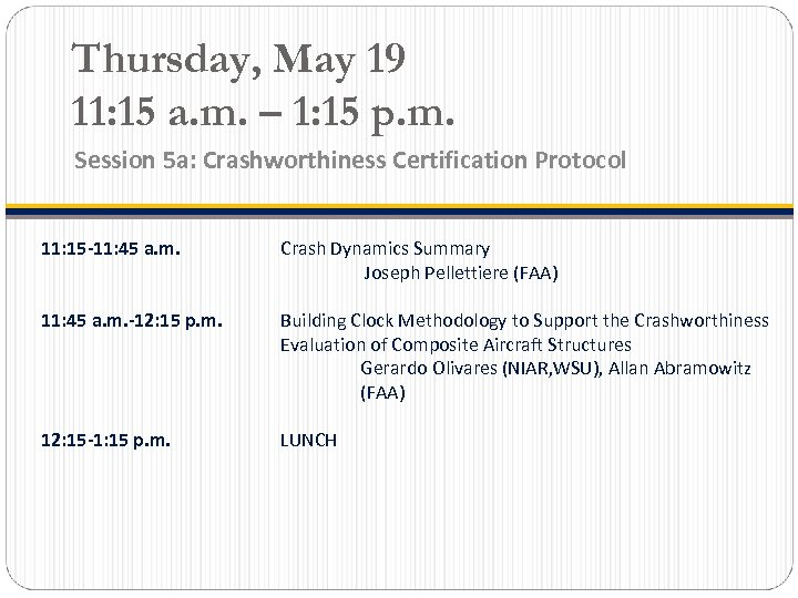 Thursday, May 19 11: 15 a. m. – 1: 15 p. m. Session 5