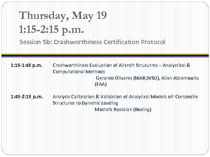 Thursday, May 19 1: 15 -2: 15 p. m. Session 5 b: Crashworthiness Certification