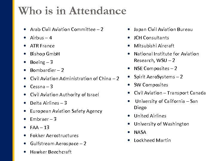 Who is in Attendance Arab Civil Aviation Committee – 2 Japan Civil Aviation Bureau
