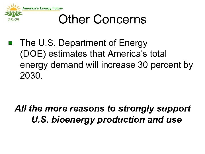 America's Energy Future Other Concerns The U. S. Department of Energy (DOE) estimates that