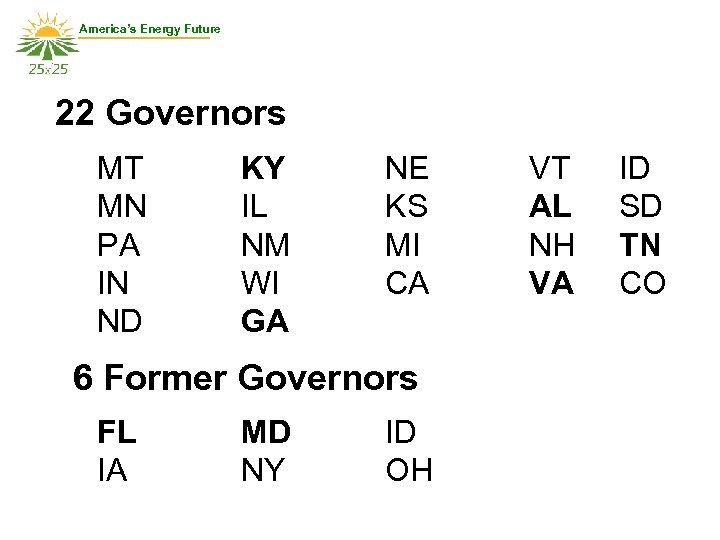 America's Energy Future 22 Governors MT MN PA IN ND KY IL NM WI
