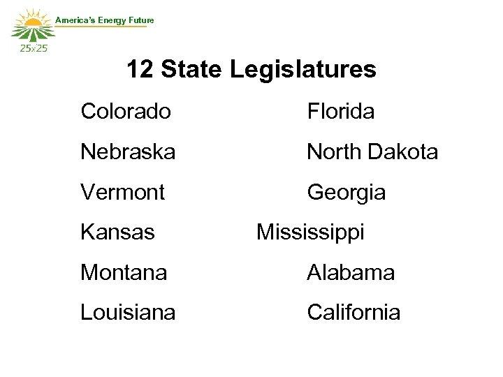America's Energy Future 12 State Legislatures Colorado Florida Nebraska North Dakota Vermont Georgia Kansas