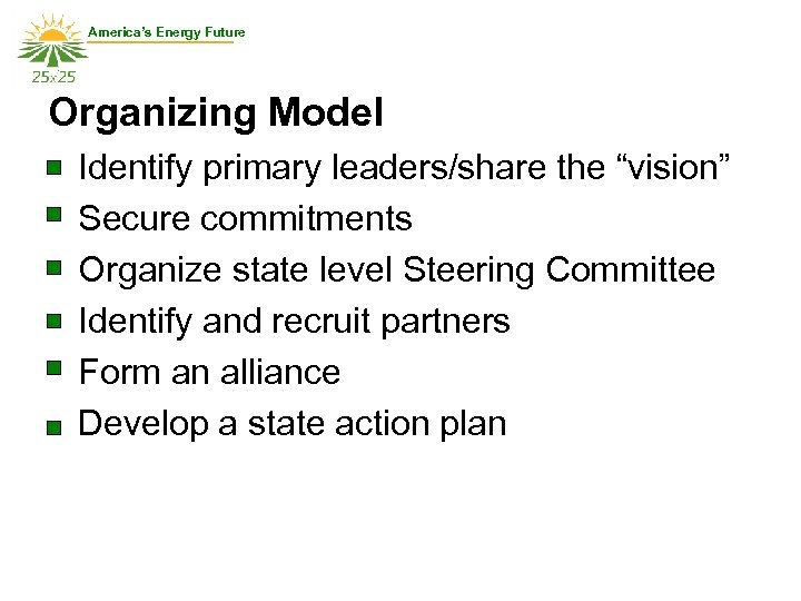 """America's Energy Future Organizing Model Identify primary leaders/share the """"vision"""" Secure commitments Organize state"""