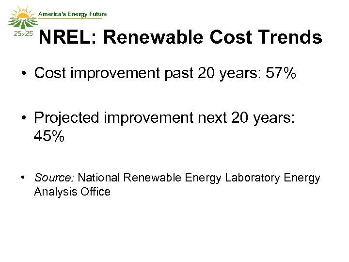 America's Energy Future NREL: Renewable Cost Trends • Cost improvement past 20 years: 57%