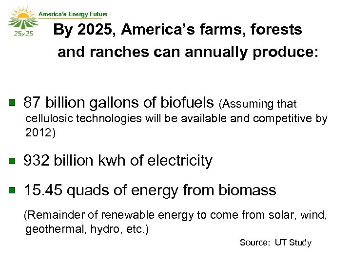 America's Energy Future By 2025, America's farms, forests and ranches can annually produce: 87