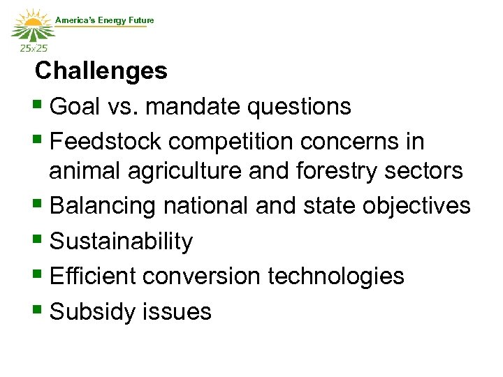 America's Energy Future Challenges § Goal vs. mandate questions § Feedstock competition concerns in