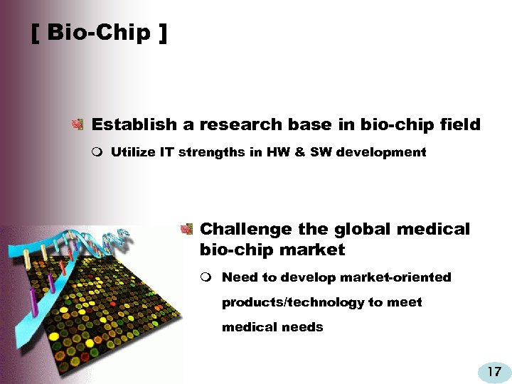 [ Bio-Chip ] Establish a research base in bio-chip field m Utilize IT strengths