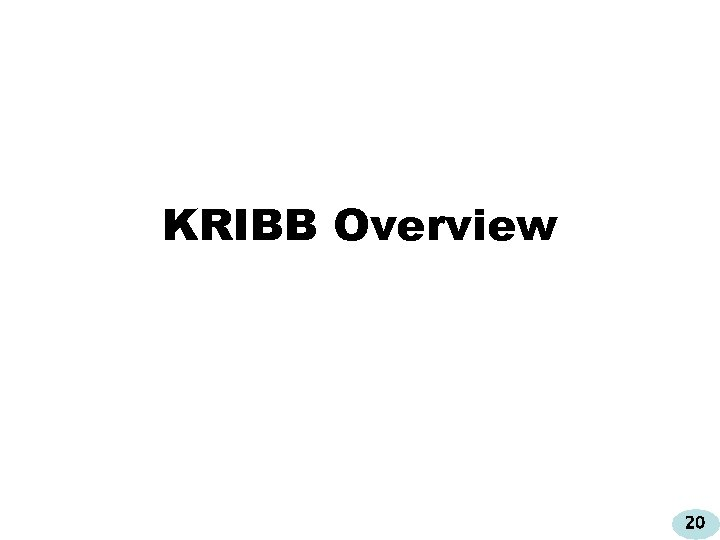 KRIBB Overview 20