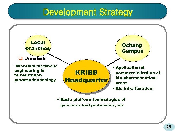 Development Strategy Local branches Ochang Campus q Jeonbuk ㆍ Microbial metabolic engineering & fermentation