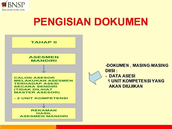 PENGISIAN DOKUMEN -DOKUMEN , MASING-MASING DIISI : - DATA ASESI 1 UNIT KOMPETENSI YANG