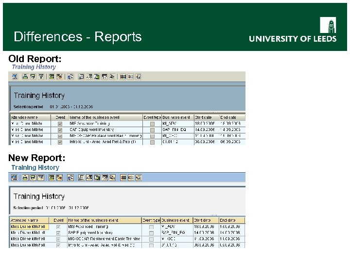 Differences - Reports Old Report: New Report: