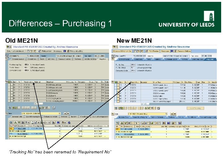 Differences – Purchasing 1 Old ME 21 N 'Tracking No' has been renamed to