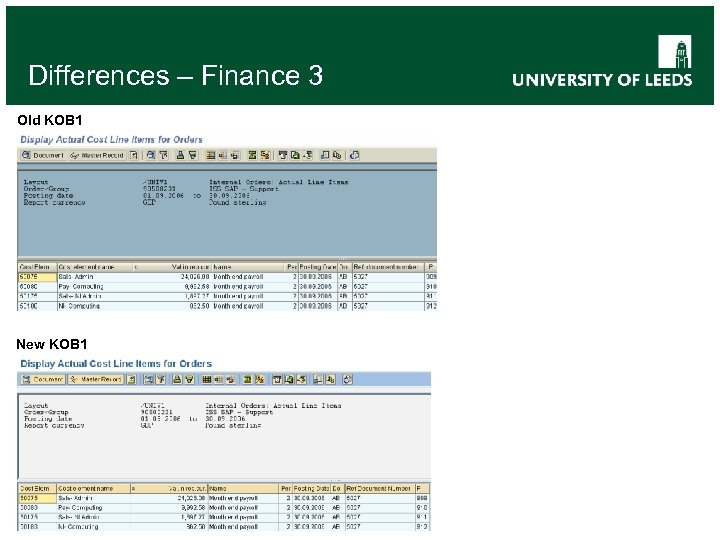 Differences – Finance 3 Old KOB 1 New KOB 1
