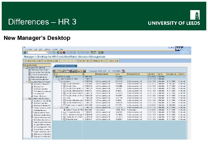 Differences – HR 3 New Manager's Desktop