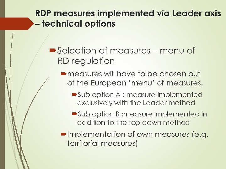RDP measures implemented via Leader axis – technical options Selection of measures – menu