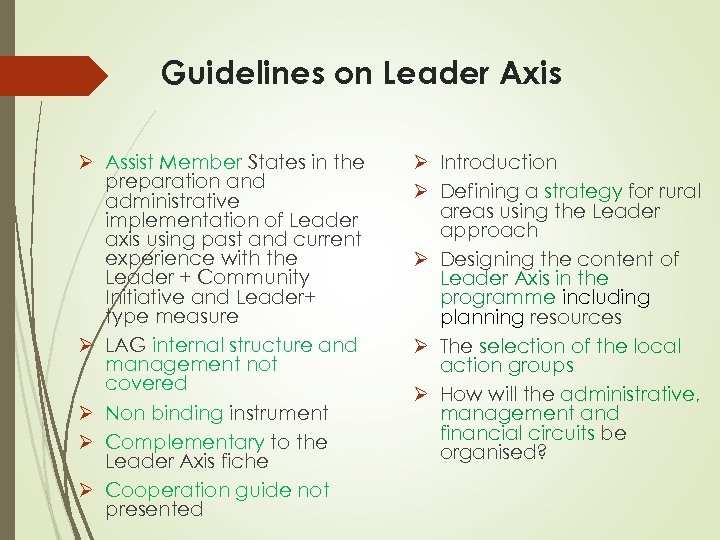 Guidelines on Leader Axis Ø Assist Member States in the preparation and administrative implementation
