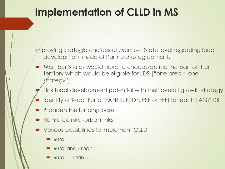 Implementation of CLLD in MS Improving strategic choices at Member State level regarding local