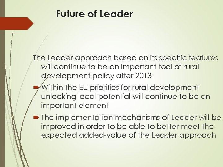 Future of Leader The Leader approach based on its specific features will continue to