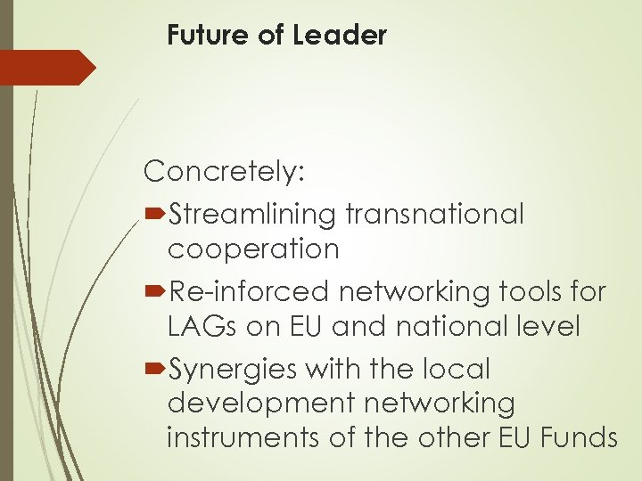 Future of Leader Concretely: Streamlining transnational cooperation Re-inforced networking tools for LAGs on EU
