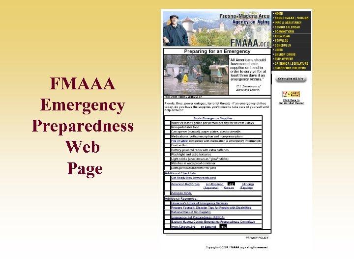 FMAAA Emergency Preparedness Web Page