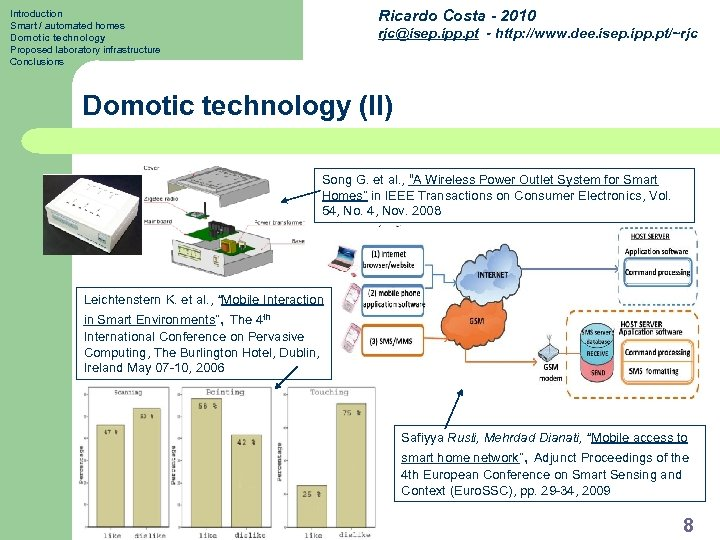 Ricardo Costa - 2010 Introduction Smart / automated homes Domotic technology Proposed laboratory infrastructure