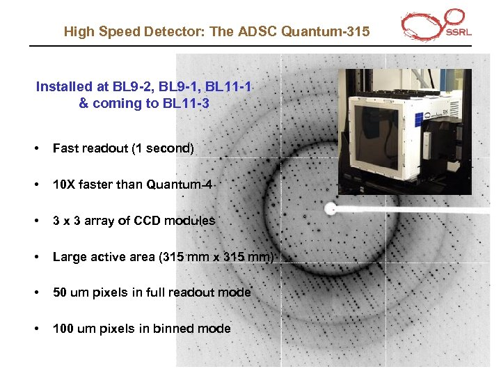 High Speed Detector: The ADSC Quantum-315 Installed at BL 9 -2, BL 9 -1,