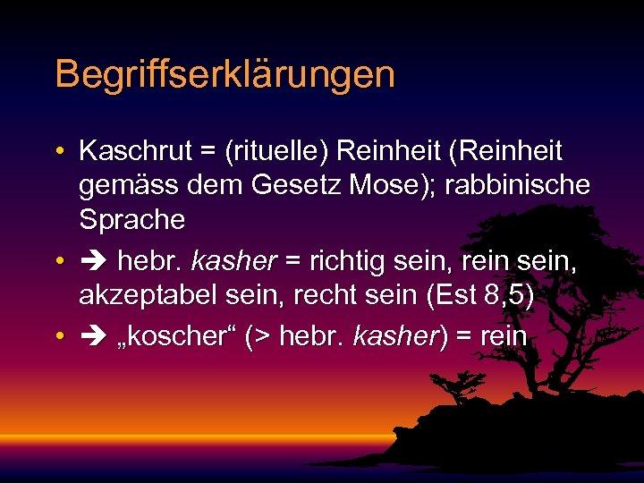 Begriffserklärungen • Kaschrut = (rituelle) Reinheit (Reinheit gemäss dem Gesetz Mose); rabbinische Sprache •