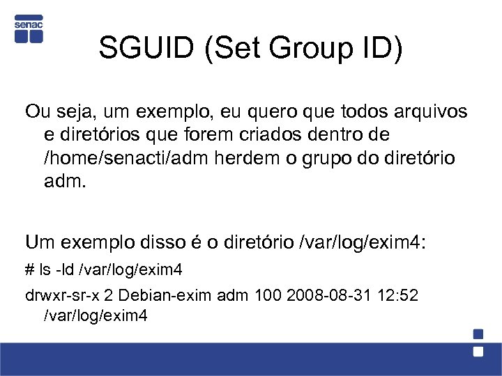 SGUID (Set Group ID) Ou seja, um exemplo, eu quero que todos arquivos e